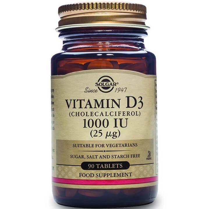Solgar Vitamin D3 Συμπλήρωμα Διατροφής για την ΟμαλήΑπορρόφηση του Ασβεστίου απο τον Οργανισμό&την Ενίσχυση του Ανοσ/κου tabs – 1000 iu 90 tabs
