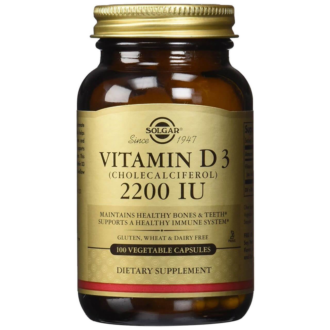 Solgar Vitamin D3 Συμπλήρωμα Διατροφής για την ΟμαλήΑπορρόφηση του Ασβεστίου απο τον Οργανισμό&την Ενίσχυση του Ανοσ/κου tabs – 2200 iu 100 caps