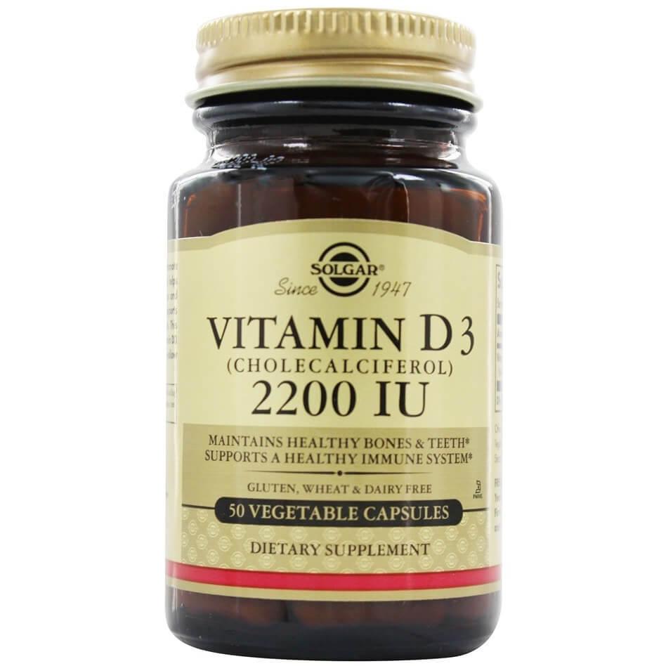 Solgar Vitamin D3 Συμπλήρωμα Διατροφής για την ΟμαλήΑπορρόφηση του Ασβεστίου απο τον Οργανισμό&την Ενίσχυση του Ανοσ/κου tabs – 2200 iu 50 caps