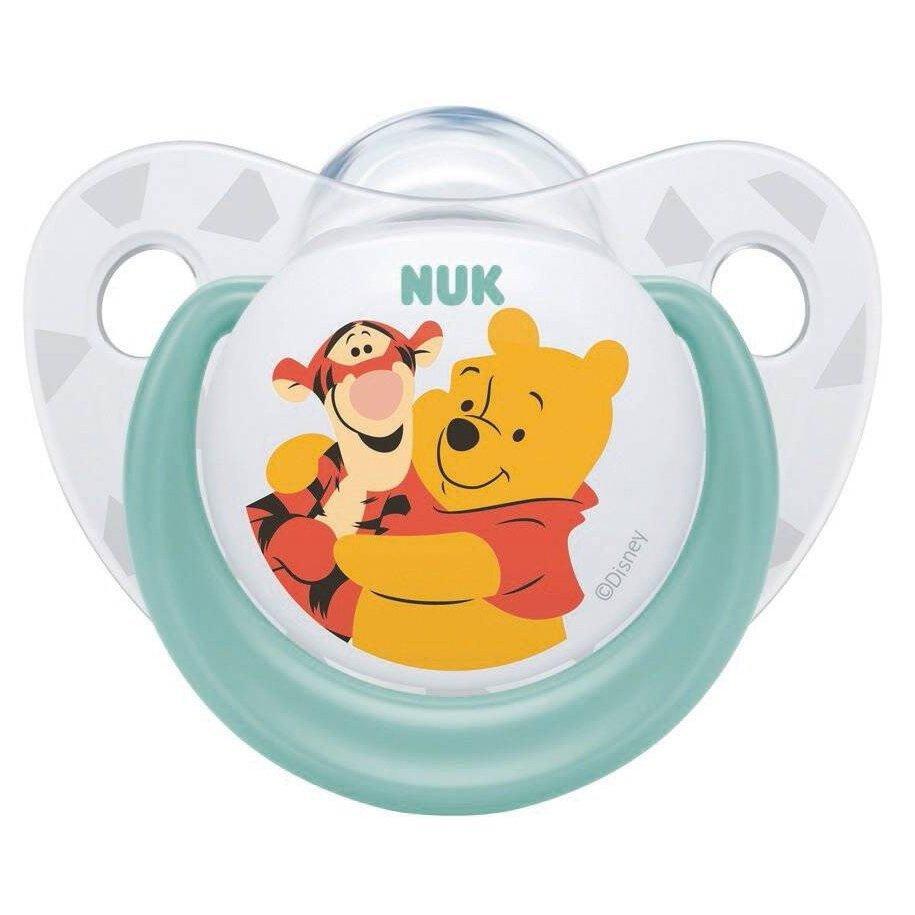 Nuk Trendline Disney Winnie the Pooh Πιπίλα Σιλικόνης με Κρίκο 1 Τεμάχιο – 6-18 Μηνών Πράσινη