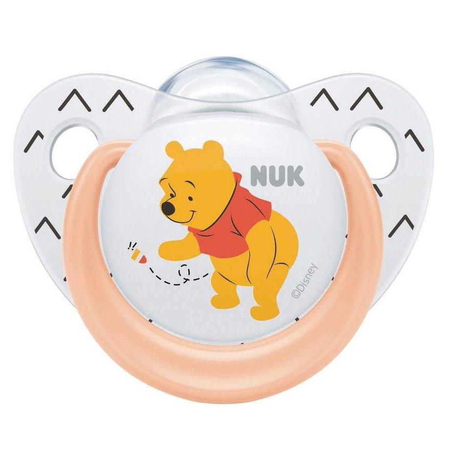 Nuk Trendline Disney Winnie the Pooh Πιπίλα Σιλικόνης με Κρίκο 1 Τεμάχιο – 6-18 Μηνών Πορτοκαλί