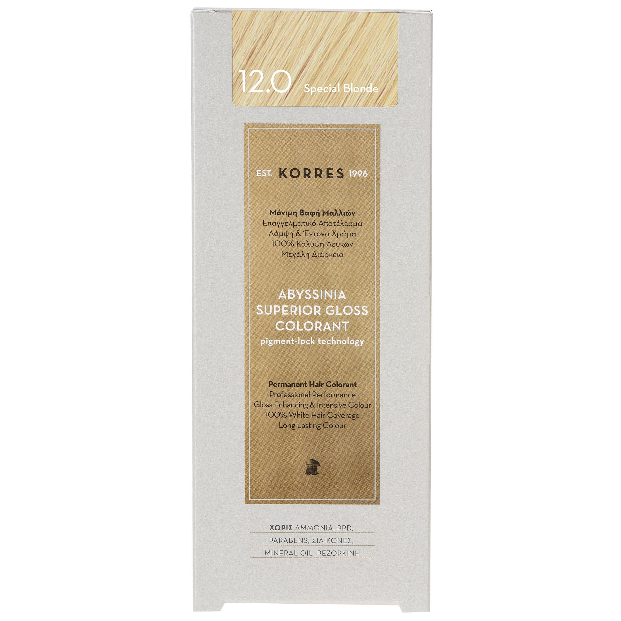 Korres Abyssinia Superior Gloss Colorant Επαγγελματικό Αποτέλεσμα Λάμψη & Έντονο Χρώμα – 12.0 SPECIAL BLONDE