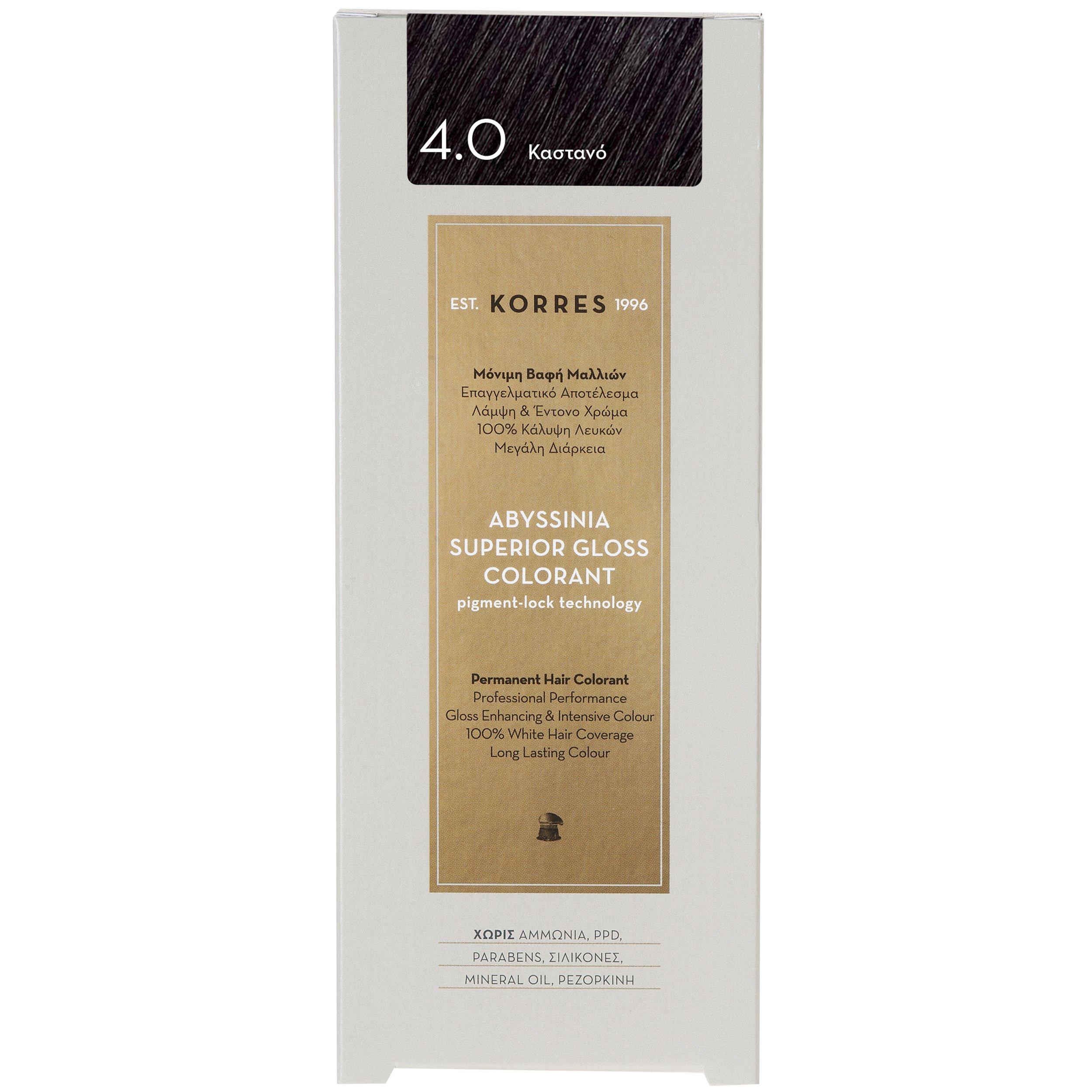 Korres Abyssinia Superior Gloss Colorant Επαγγελματικό Αποτέλεσμα Λάμψη & Έντονο Χρώμα – 4.0 ΚΑΣΤΑΝΟ