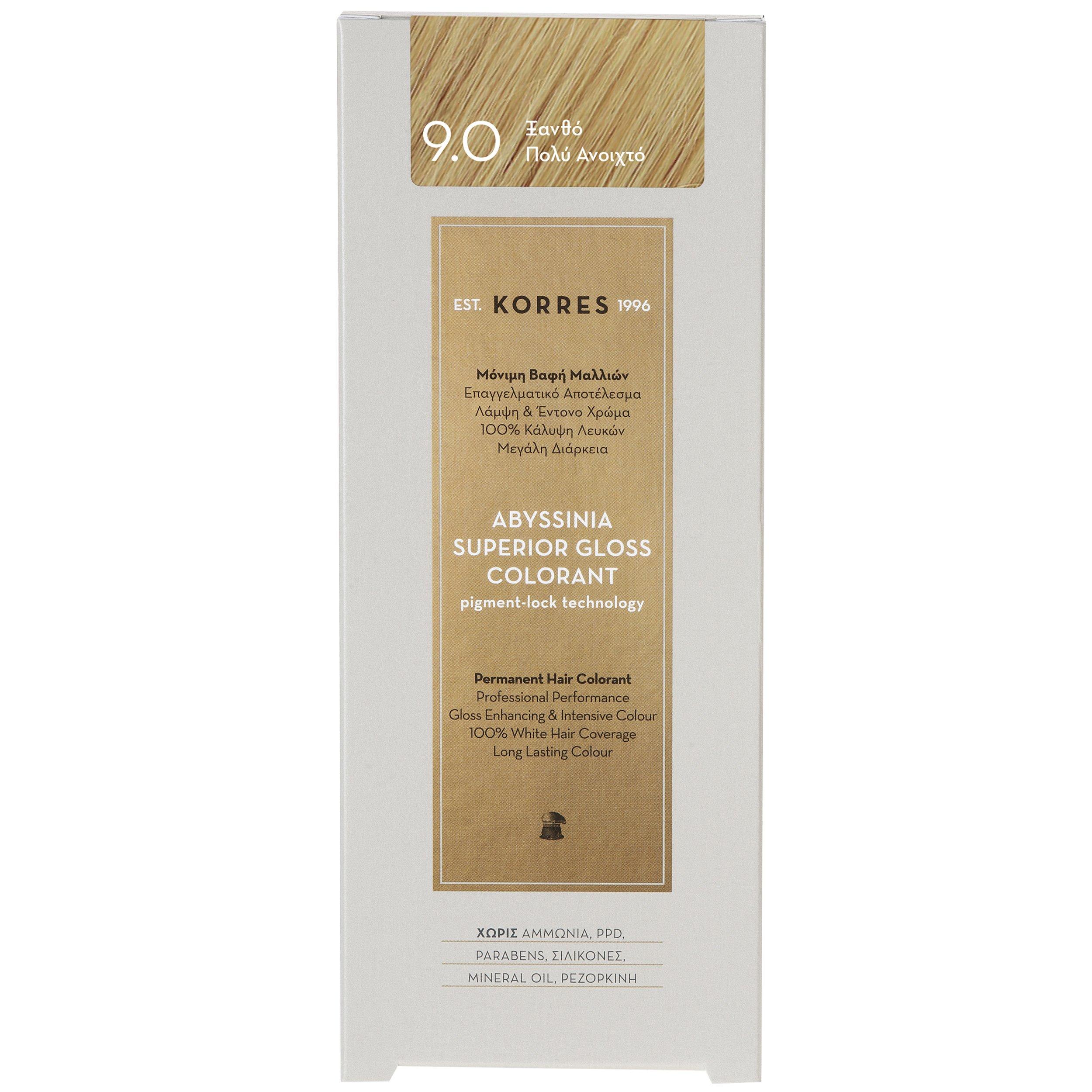 Korres Abyssinia Superior Gloss Colorant Επαγγελματικό Αποτέλεσμα Λάμψη & Έντονο Χρώμα – 9.0 ΞΑΝΘΟ ΠΟΛΎ ΑΝΟΙΚΤΟ