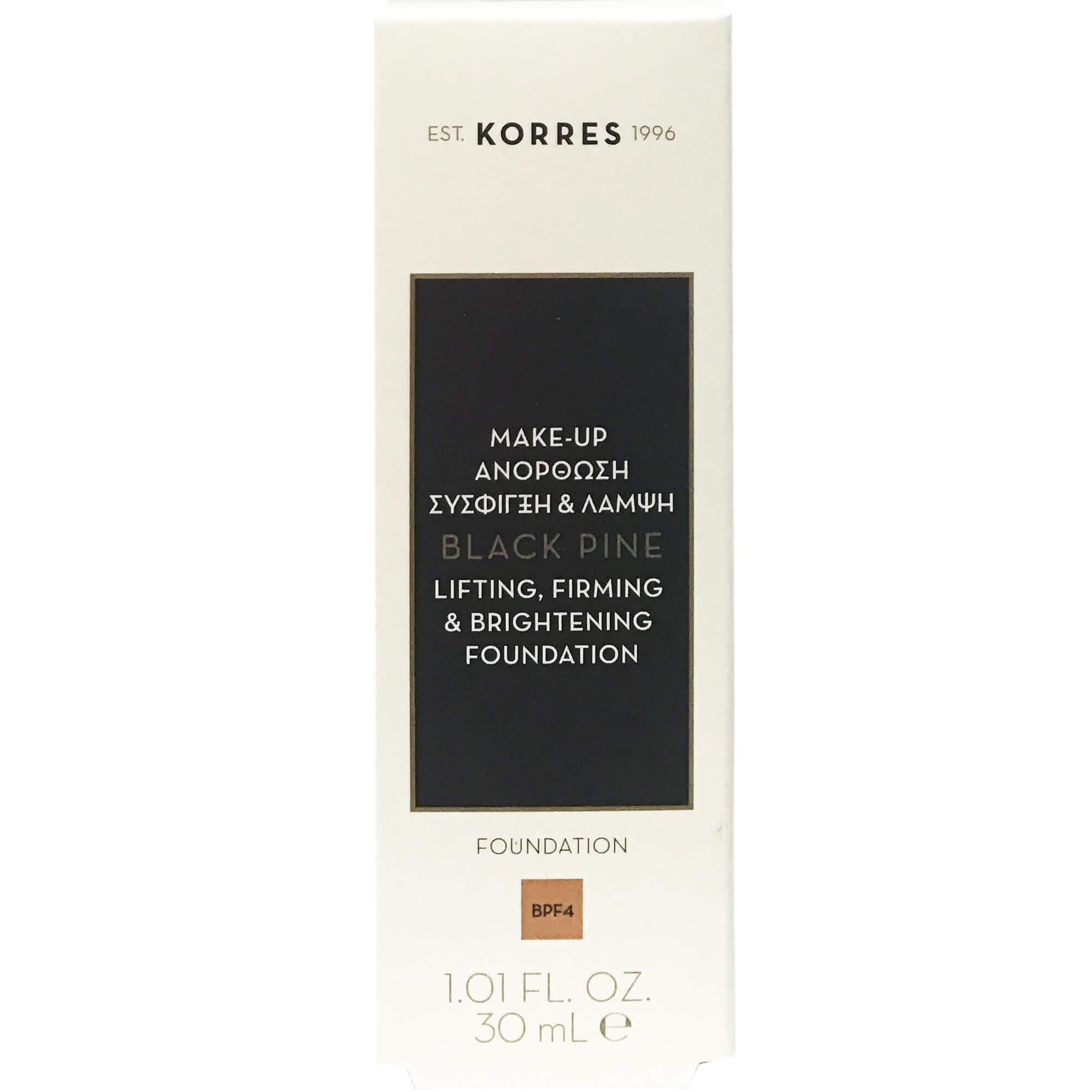 Korres Μαύρη ΠεύκηFoundation Make-up Ανόρθωσης, Σύσφιξης & Λάμψης30ml – BPF4