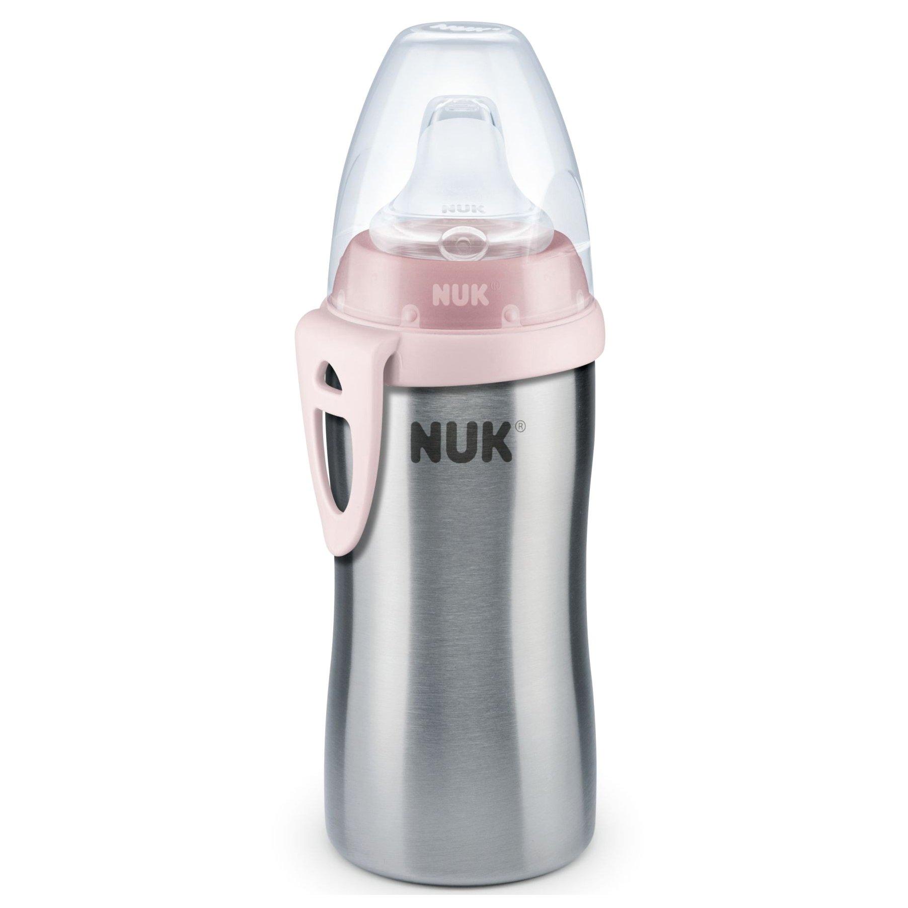 Nuk Kiddy Cup PP Παγουράκι Από Ανοξείδωτο Ατσάλι με Ρύγχος & Κλιπ 12m+ , 300ml – ροζ