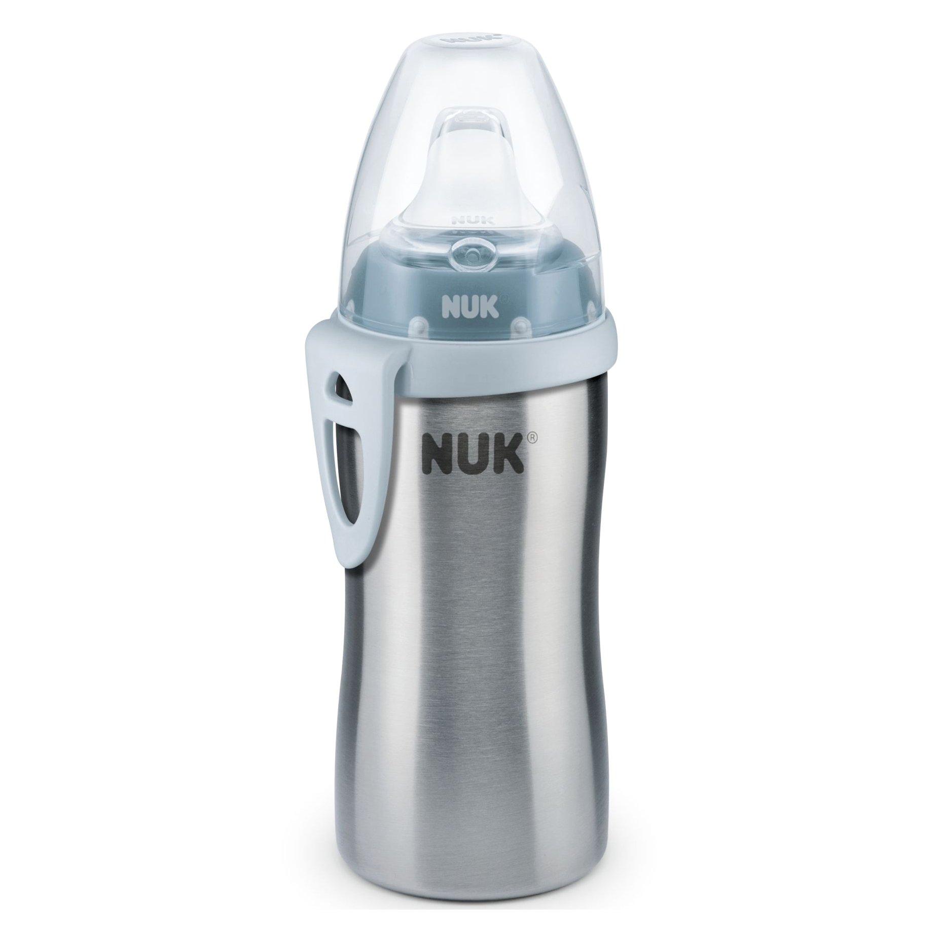 Nuk Kiddy Cup PP Παγουράκι Από Ανοξείδωτο Ατσάλι με Ρύγχος & Κλιπ 12m+ , 300ml – γκρι