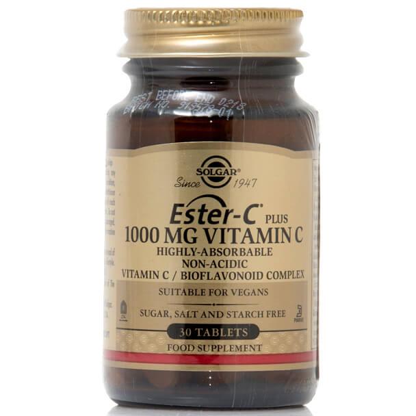 Solgar Ester-C 1000mg Συμπλήρωμα Διατροφής με μη Όξινη Μορφή Βιταμίνης C tablets – 30 tabs