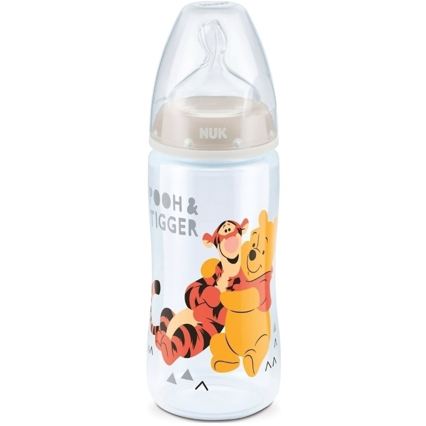 Nuk First Choice Plus Disney Winnie the Pooh Μπιμπερό PP 0-6 Μηνών με Θηλή Σιλικόνης Μεγέθους M 300ml – γκρι