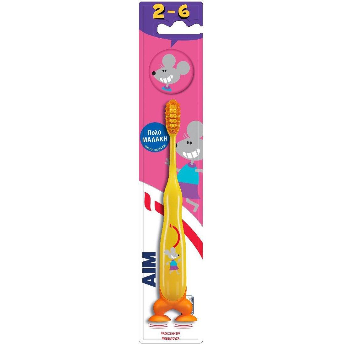 Aim Παιδική Οδοντόβουρτσα Πολύ Μαλακή με Μικρή Κεφαλή, Βάση Στήριξης με Βεντούζα & Καπάκι Προστατευτικό, από 2-6 Ετών 1 Τεμάχιο – κίτρινο