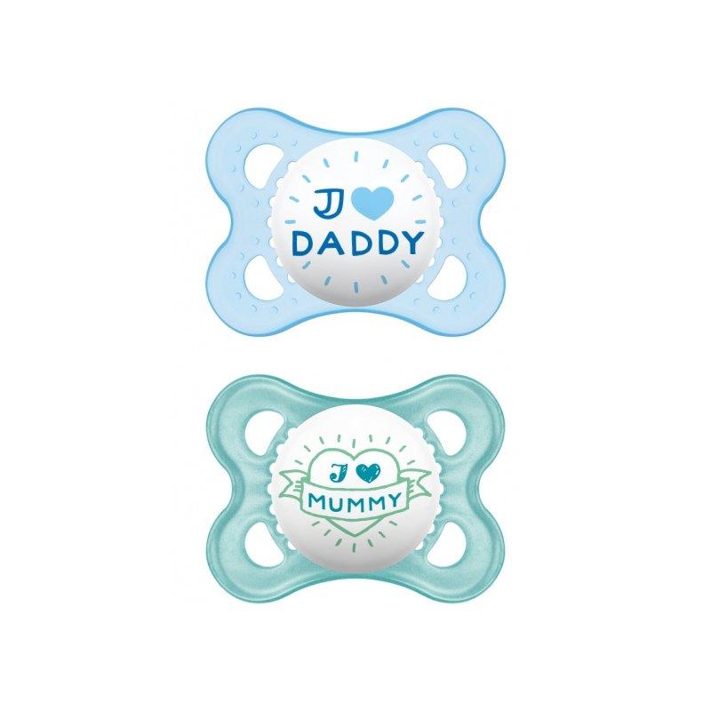 Mam I Love Mummy & Daddy Ορθοδοντική Πιπίλα Σιλικόνης Κωδ 115S από 2 Έως 6 Μηνών 2 Τεμάχια – Γαλάζιο – Σιέλ
