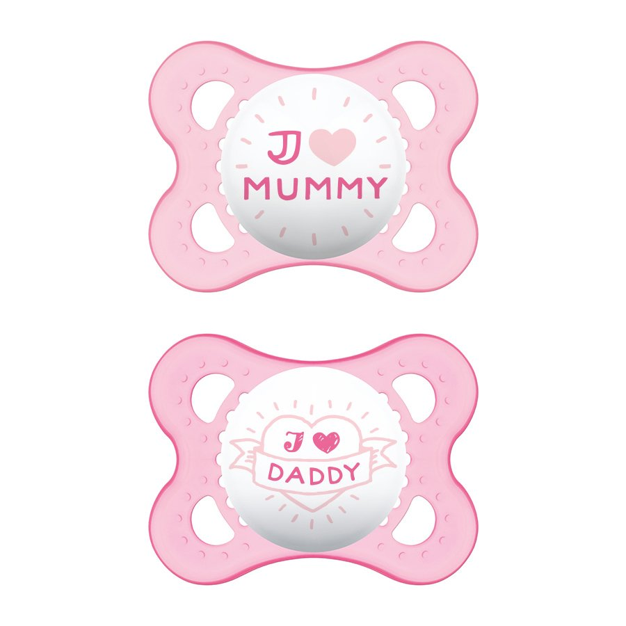 Mam I Love Mummy & Daddy Ορθοδοντική Πιπίλα Σιλικόνης Κωδ 115S από 2 Έως 6 Μηνών 2 Τεμάχια – Ροζ – Ροζ