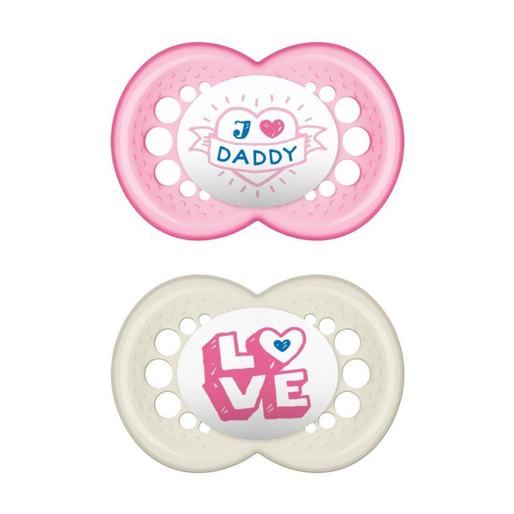 Mam I Love Mummy & Daddy Ορθοδοντική Πιπίλα Σιλικόνης Κωδ 265S από 16+ Μηνών 2 Τεμάχια – Ροζ – Λευκό