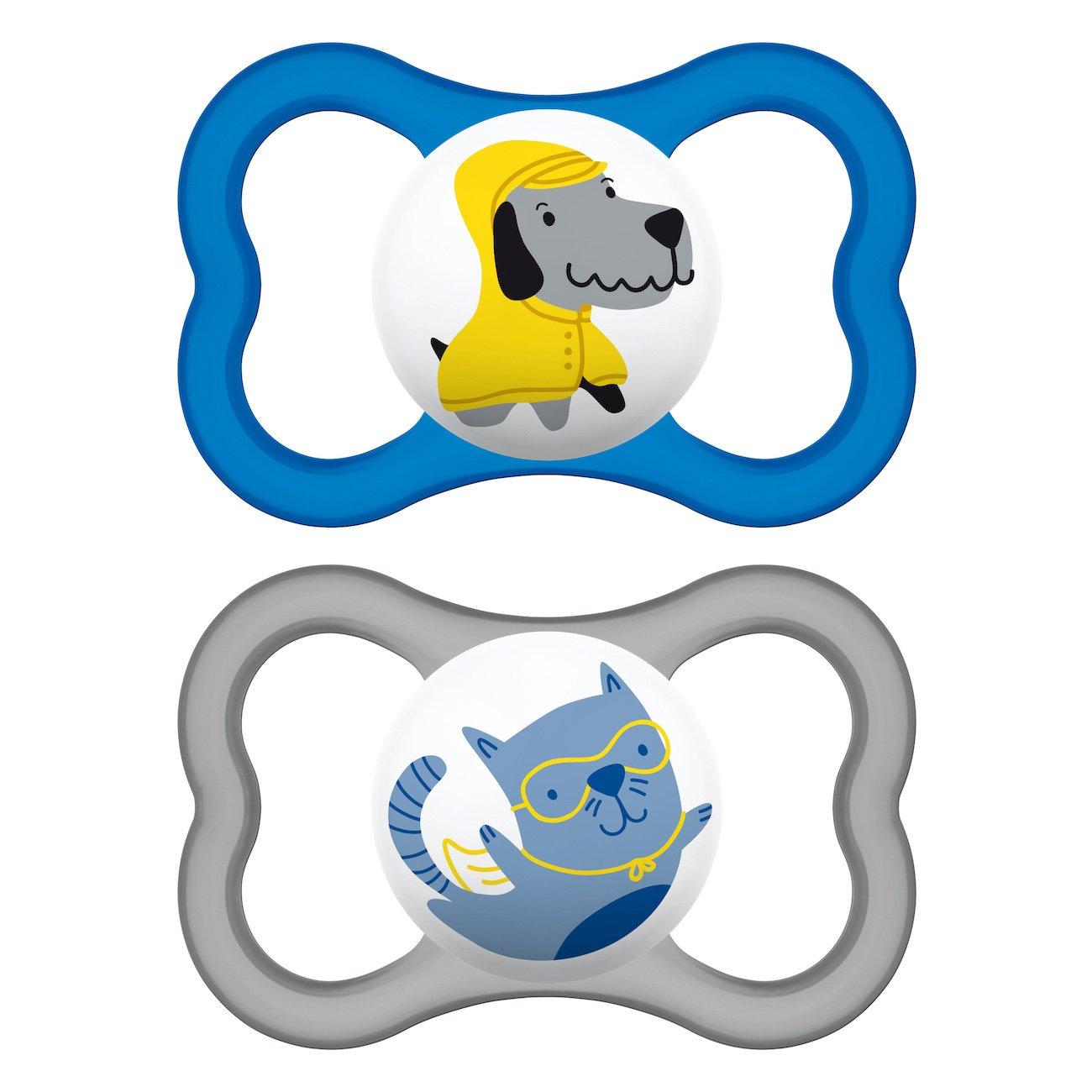 Mam Air Ορθοδοντική Πιπίλα Καουτσούκ Κωδ 216L από 6 Έως 16 Μηνών 2 Τεμάχια – Μπλε – Γκρι