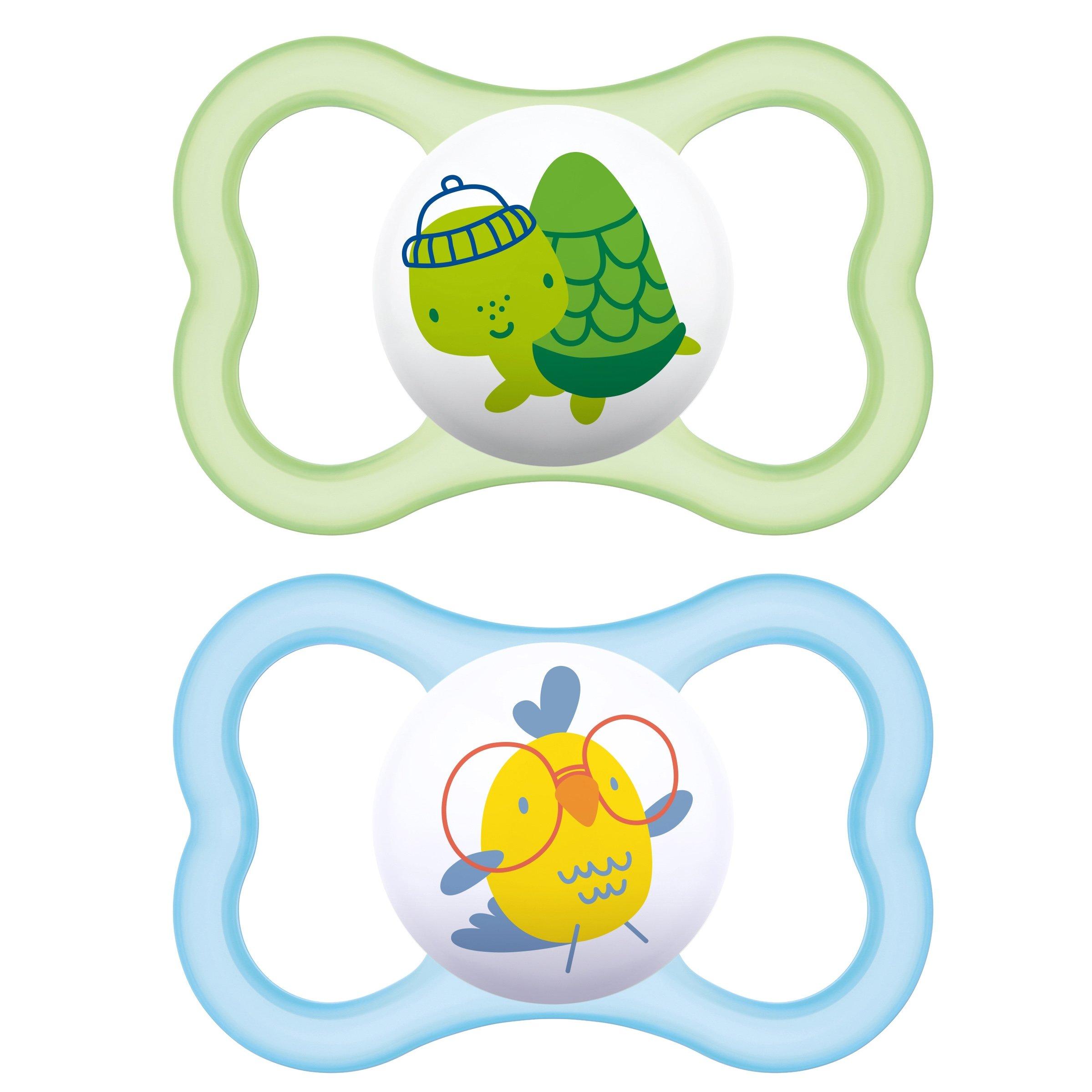 Mam Air Ορθοδοντική Πιπίλα Καουτσούκ Κωδ 216L από 6 Έως 16 Μηνών 2 Τεμάχια – Πράσινο – Γαλάζιο