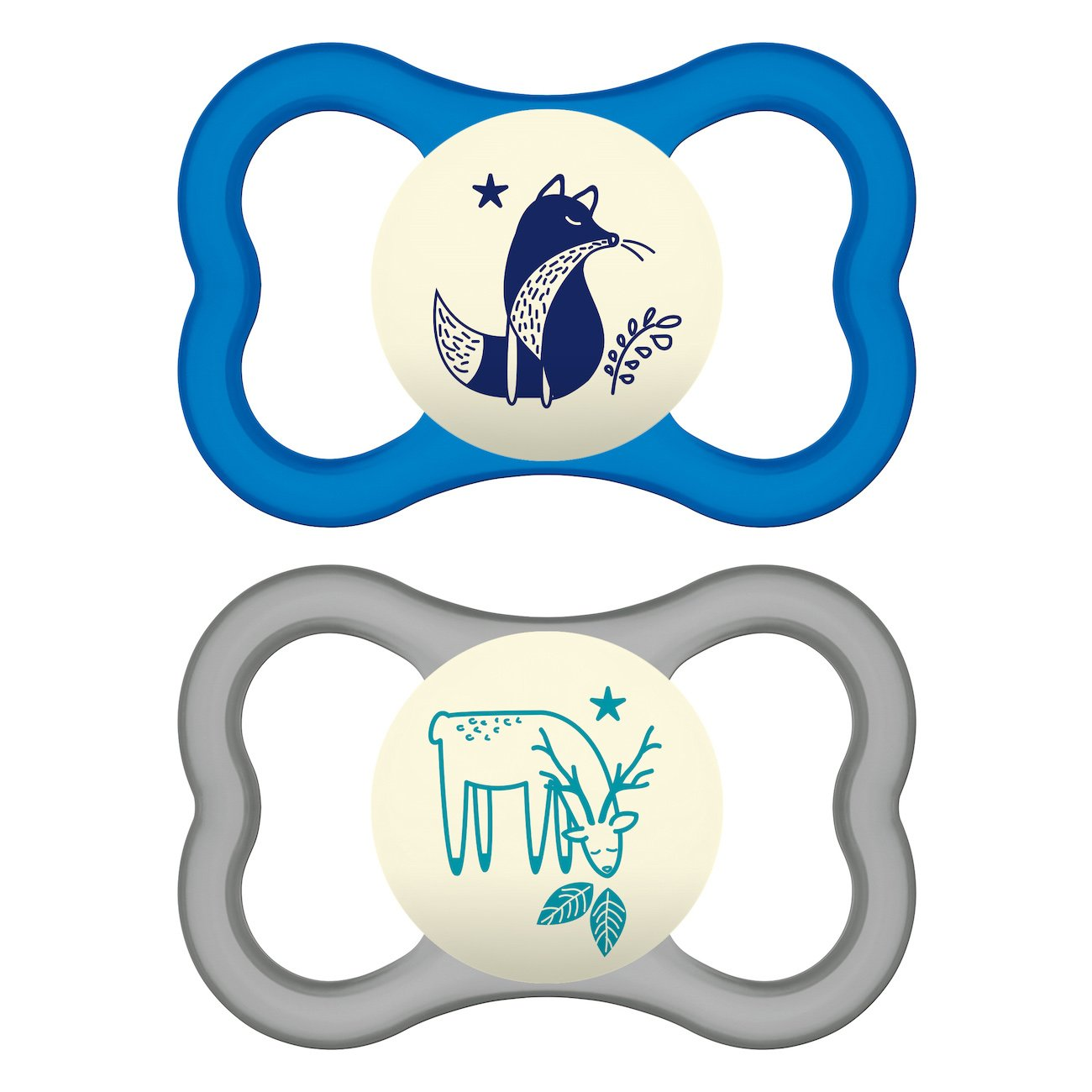 Mam Air Night Animal Ορθοδοντική Πιπίλα Σιλικόνης που Λάμπει στο Σκοτάδι Κωδ 277S από 16+ Μηνών 2 Τεμάχια – Μπλε – Γκρι