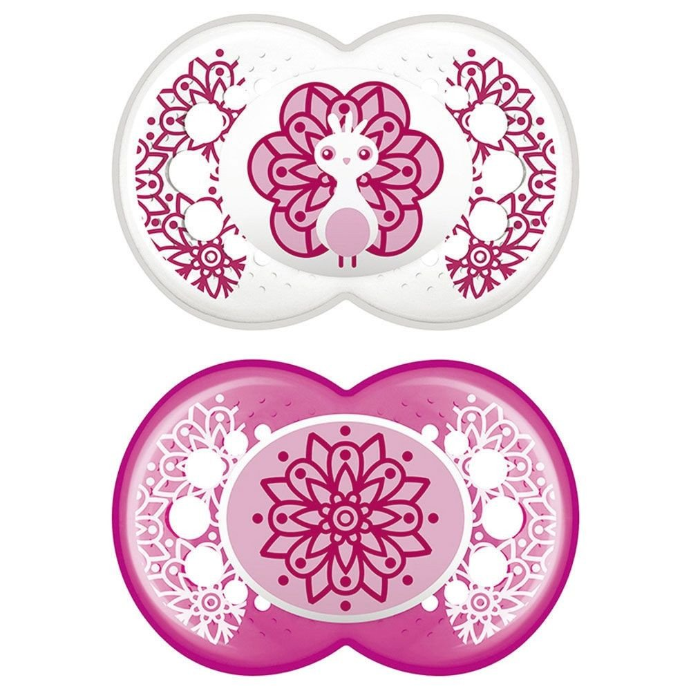 Mam Clear Ορθοδοντική Πιπίλα Σιλικόνης Κωδ 180S από 6 Έως 16 Μηνών 2 Τεμάχια – Ροζ – Διάφανο
