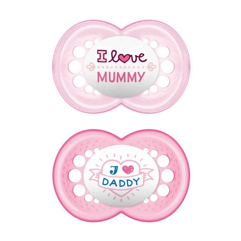 Mam I Love Mummy & Daddy Ορθοδοντική Πιπίλα Σιλικόνης Κωδ 170S από 6 Έως 16 Μηνών 2 Τεμάχια – Ροζ – Ροζ