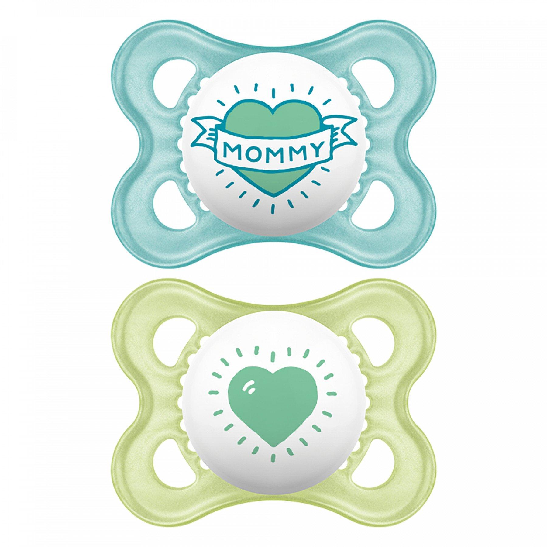 Mam I Love Mummy & Daddy Ορθοδοντική Πιπίλα Σιλικόνης Κωδ 115S από 2 Έως 6 Μηνών 2 Τεμάχια – γαλάζιο-πράσινο