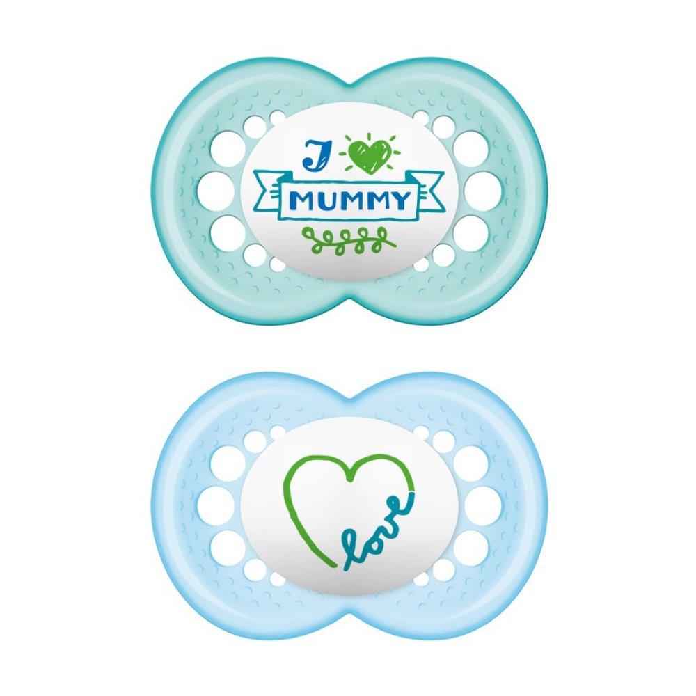 Mam I Love Mummy & Daddy Ορθοδοντική Πιπίλα Σιλικόνης Κωδ 170S από 6 Έως 16 Μηνών 2 Τεμάχια – Μπλε – Γαλάζιο 1