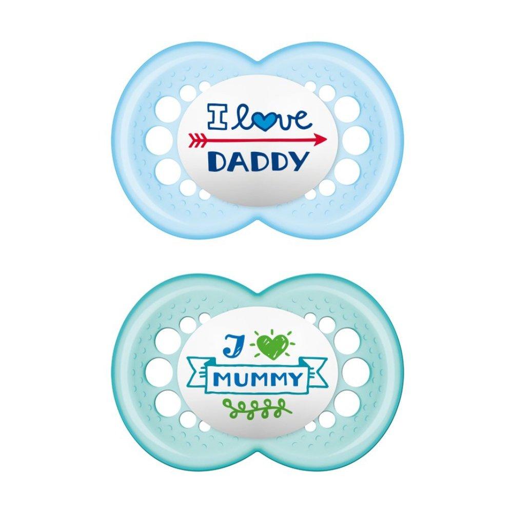 Mam I Love Mummy & Daddy Ορθοδοντική Πιπίλα Σιλικόνης Κωδ 170S από 6 Έως 16 Μηνών 2 Τεμάχια – Μπλε – Γαλάζιο 2