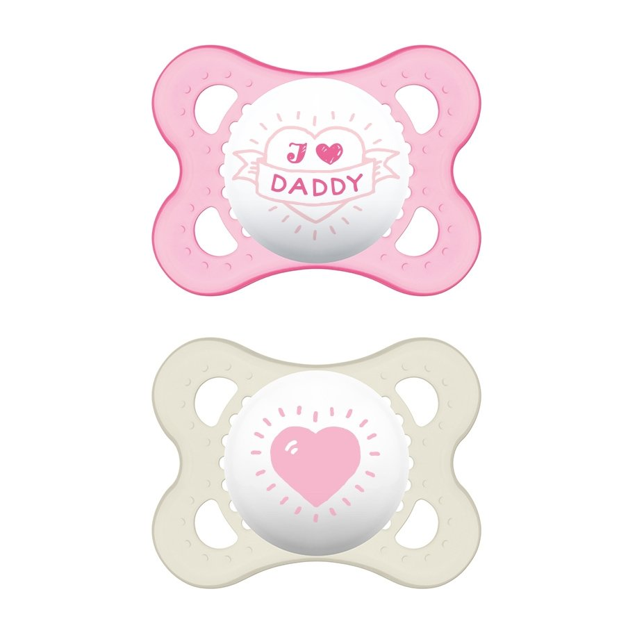 Mam I Love Mummy & Daddy Ορθοδοντική Πιπίλα Σιλικόνης Κωδ 115S από 2 Έως 6 Μηνών 2 Τεμάχια – Ροζ – Λευκό 1