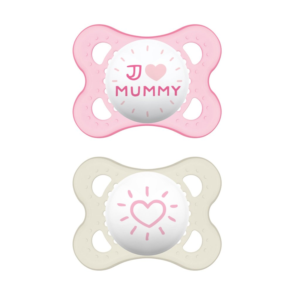 Mam I Love Mummy & Daddy Ορθοδοντική Πιπίλα Σιλικόνης Κωδ 115S από 2 Έως 6 Μηνών 2 Τεμάχια – Ροζ – Λευκό 2