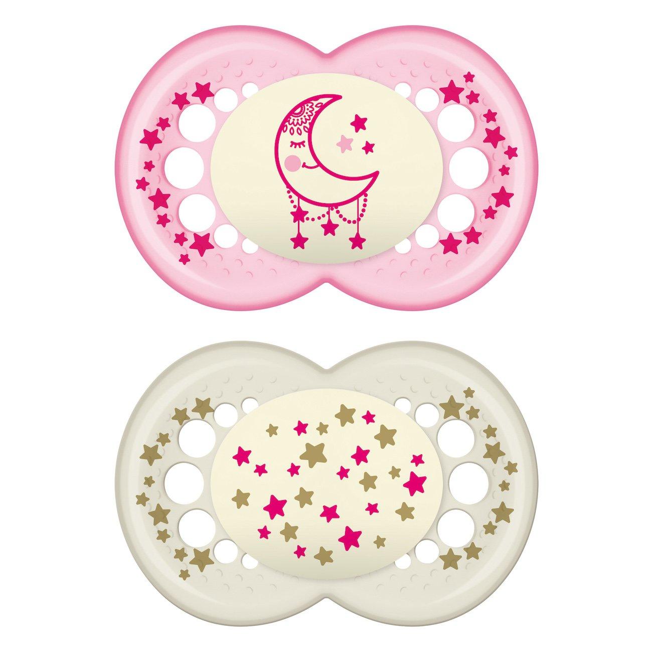 Mam Night Ορθοδοντική Πιπίλα Σιλικόνης που Λάμπει στο Σκοτάδι Κωδ 260S από 16+ Μηνών 2 Τεμάχια – Ροζ – Λευκό