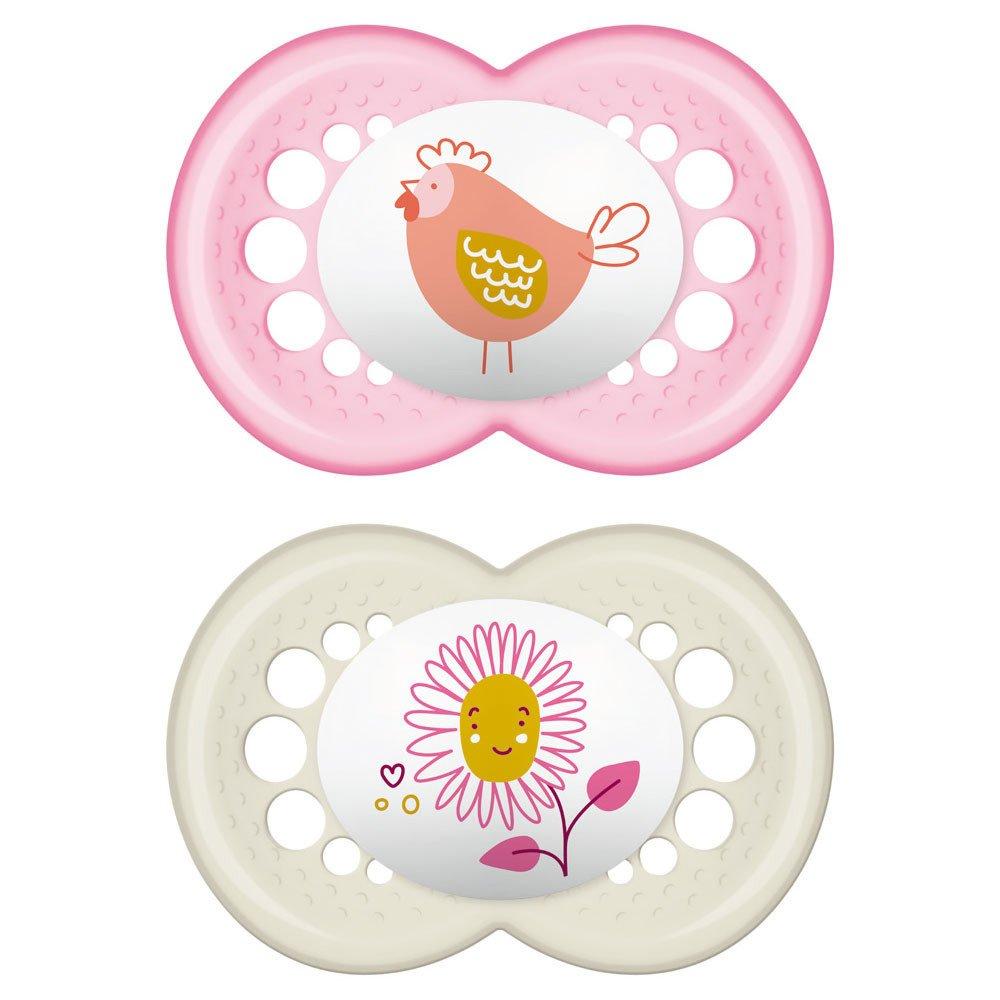 Mam Original Little Farm Ορθοδοντική Πιπίλα Καουτσούκ Κωδ 251L από 16+ Μηνών 2 Τεμάχια – Ροζ – Λευκό