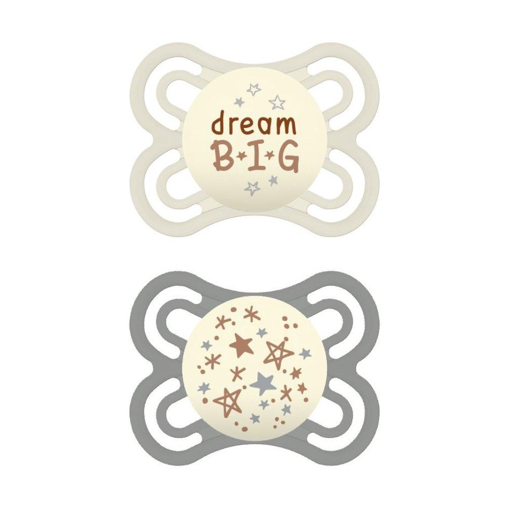 Mam Perfect Night Ορθοδοντική Πιπίλα Σιλικόνης Κωδ 136S από 2 Έως 6 Μηνών 2 Τεμάχια – Γκρι – Λευκό