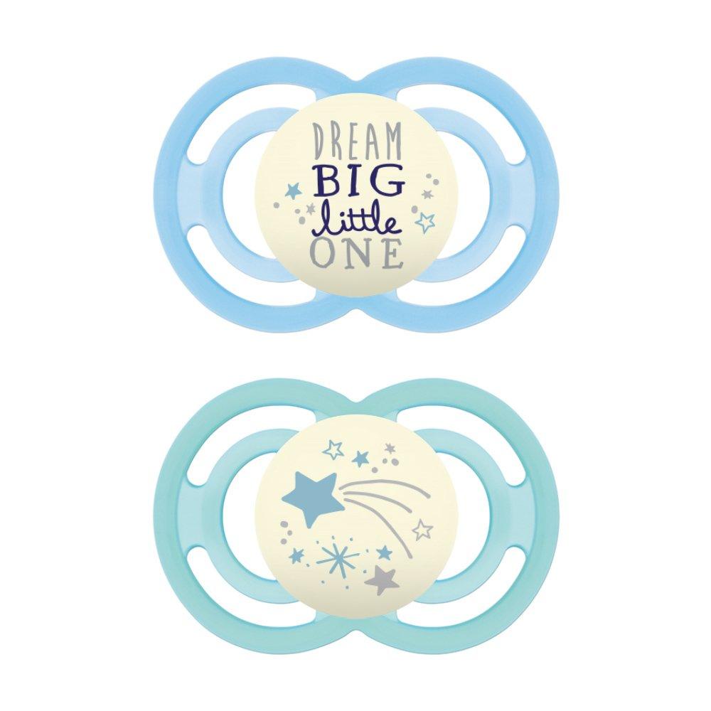 Mam Perfect Night Ορθοδοντική Πιπίλα Σιλικόνης Κωδ 226S από 6 Έως 16 Μηνών 2 Τεμάχια – Γαλάζιο – Μπλε