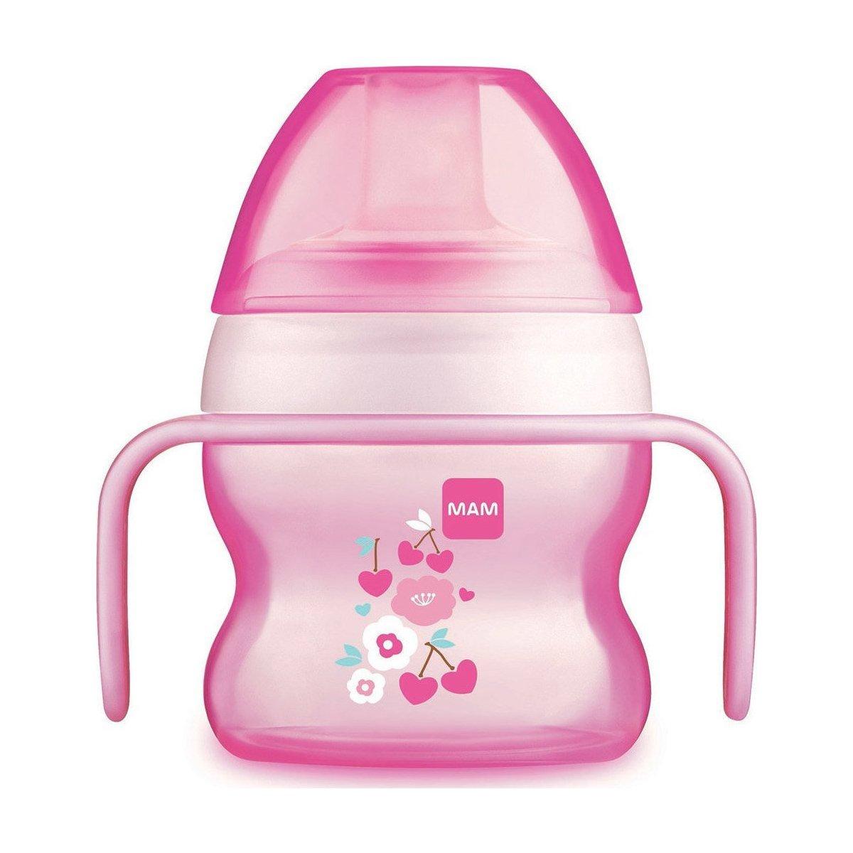 Mam Starter Cup Κωδ 462 Το Πρώτο Ποτηράκι του Μωρού, με Χερουλάκια για Αυτόνομο Κράτημα & Πολύ Μαλακό Στόμιο από 4+ Μηνών 150ml – ροζ