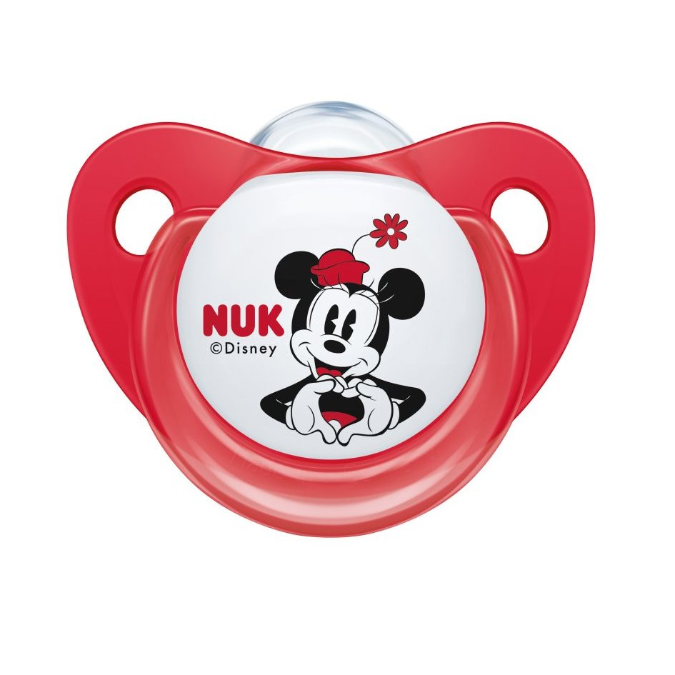 Nuk Trendline Disney Mickey Mouse Πιπίλα Σιλικόνης με Κρίκο 1 Τεμάχιο – 6-18 Μηνών Κόκκινη