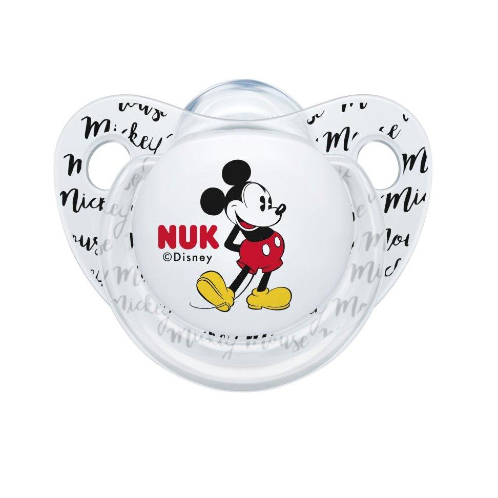 Nuk Trendline Disney Mickey Mouse Πιπίλα Σιλικόνης με Κρίκο 1 Τεμάχιο – 6-18 Μηνών Διάφανη