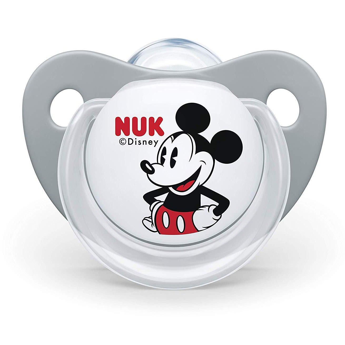 Nuk Trendline Disney Mickey Mouse Πιπίλα Σιλικόνης με Κρίκο 1 Τεμάχιο – 6-18 Μηνών Γκρι