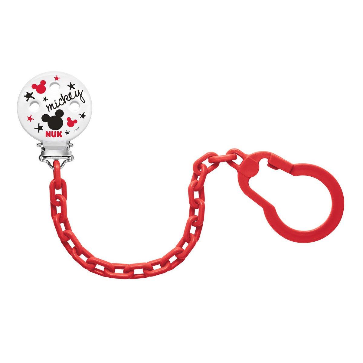 Nuk Soother Chain Mickey Αλυσίδα Πιπίλας 0-36m BPA Free – κόκκινο