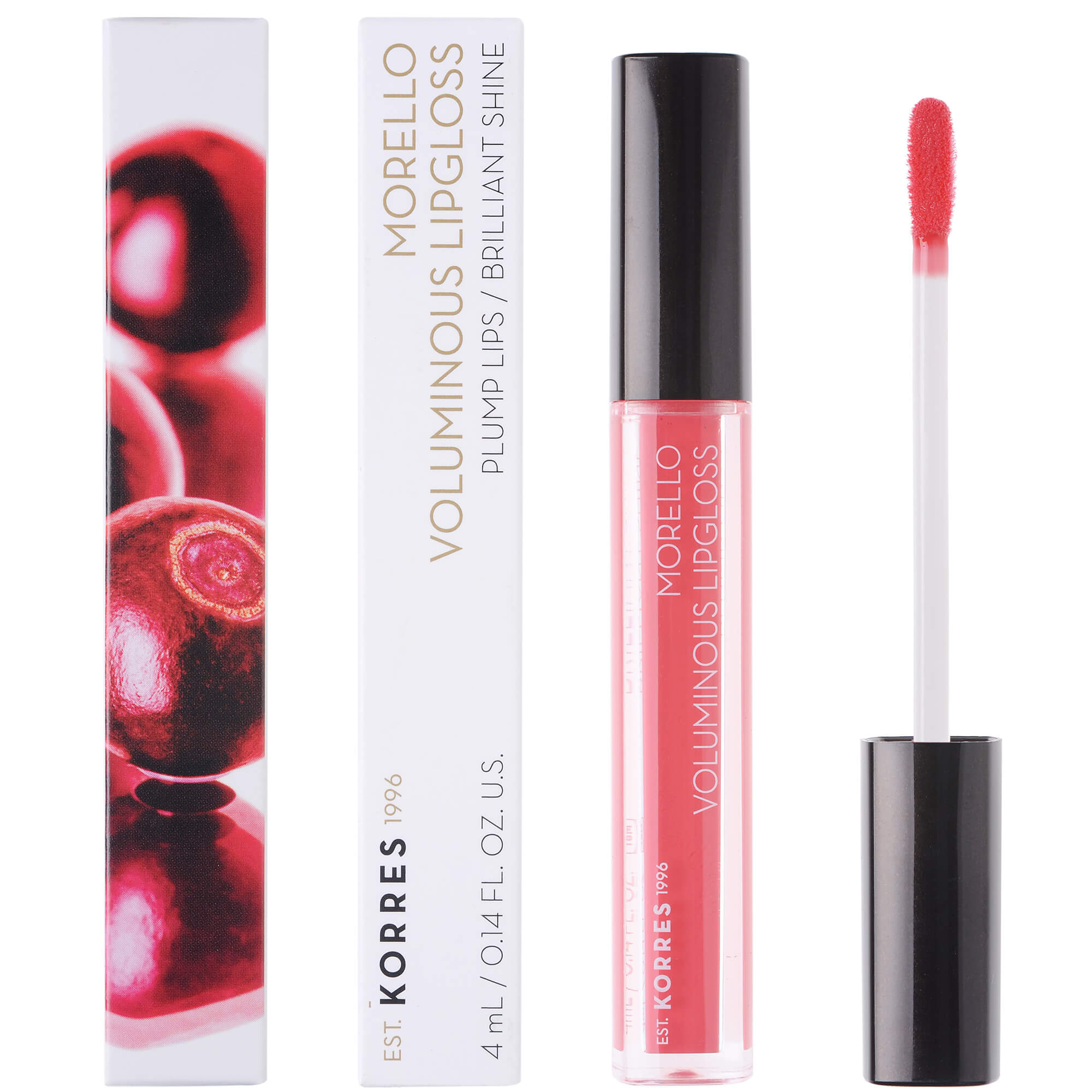 Korres Morello Voluminous Lipgloss Brilliant Shine Ενυδατικό Lipgloss με Εξαιρετική Λάμψη & Γεμάτο Χρώμα που Διαρκεί 4ml – 42 Peachy Coral