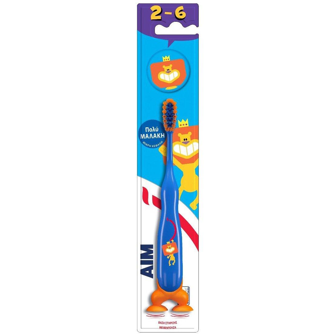 Aim Παιδική Οδοντόβουρτσα Πολύ Μαλακή με Μικρή Κεφαλή, Βάση Στήριξης με Βεντούζα & Καπάκι Προστατευτικό, από 2-6 Ετών 1 Τεμάχιο – μπλέ
