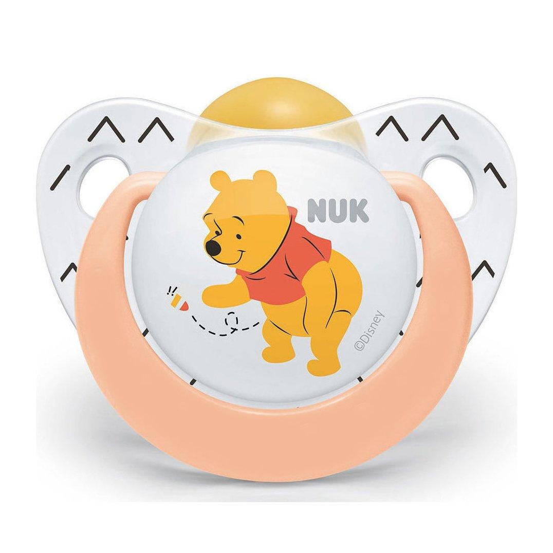 Nuk Trendline Disney Winnie the Pooh Πιπίλα Καουτσούκ με Κρίκο 1 Τεμάχιο – 6-18 Μηνών Πορτοκαλί