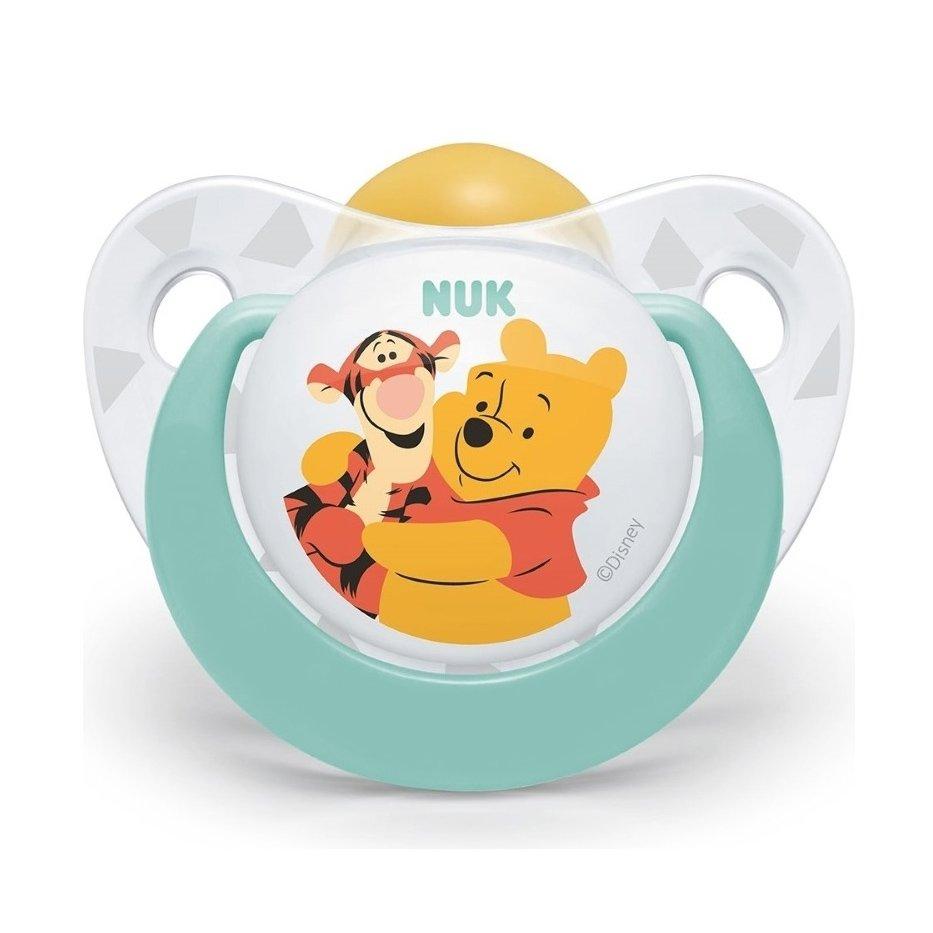 Nuk Trendline Disney Winnie the Pooh Πιπίλα Καουτσούκ με Κρίκο 1 Τεμάχιο – 6-18 Μηνών Πράσινη