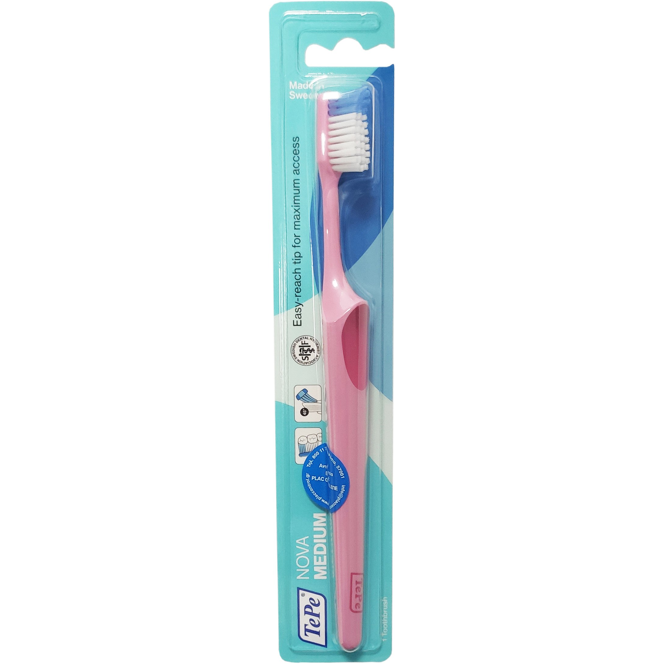 TePe Nova Medium Οδοντόβουρτσα Μέτρια με Ειδικά Σχεδιασμένη Κεφαλή για Καλή Πρόσβαση που δεν Τραυματίζει 1 Τεμάχιο – ροζ