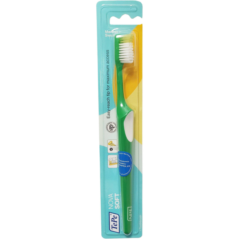 TePe Nova Soft Οδοντόβουρτσα Μαλακή με Ειδικά Σχεδιασμένη Κεφαλή για Καλή Πρόσβαση που δεν Τραυματίζει 1 Τεμάχιο – πράσινο