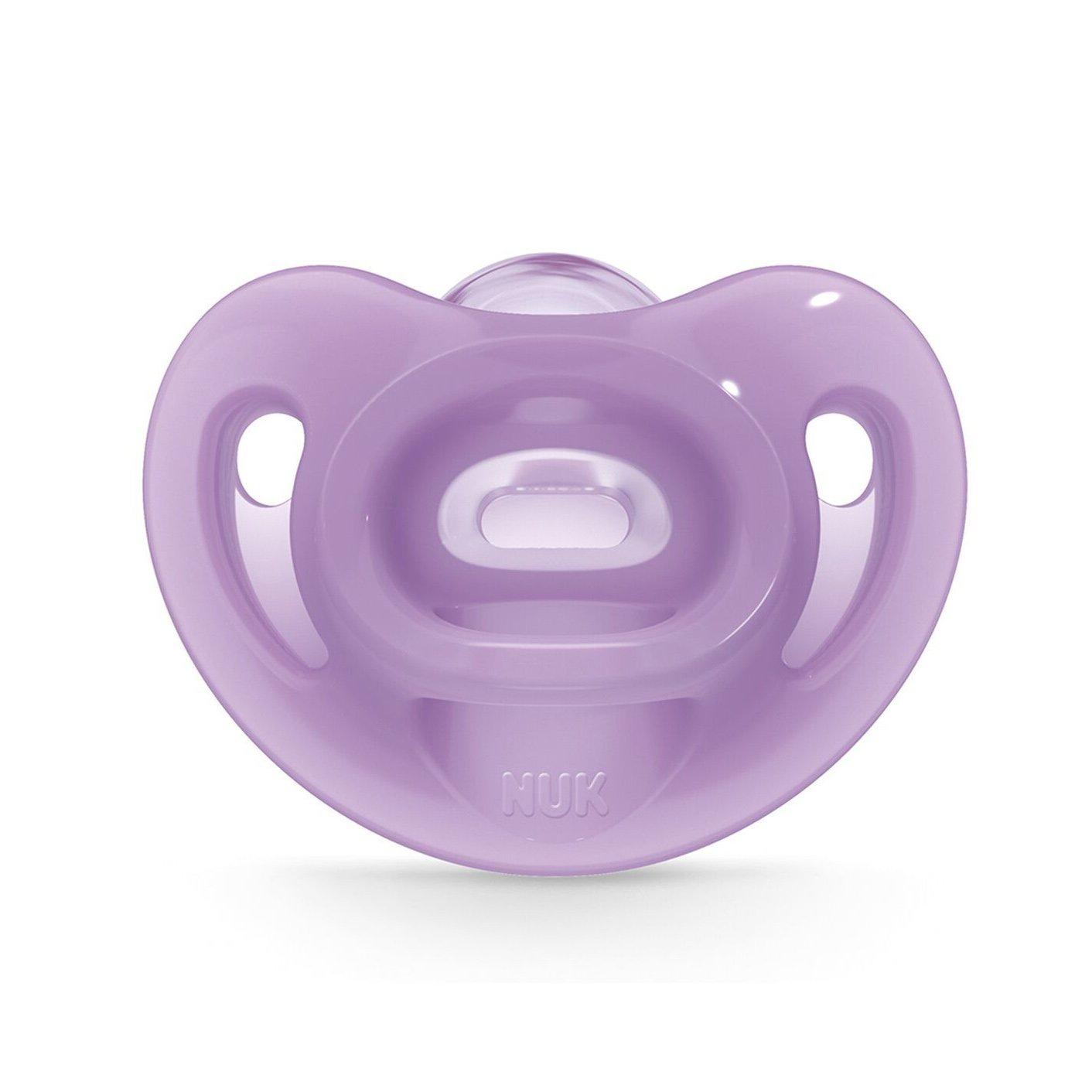 Nuk Sensitive Πιπίλα Όλο Σιλικόνη Εξαιρετικά Μαλακή & Εύκαμπτη 1 Τεμάχιο – 0-6 Μηνών Μωβ