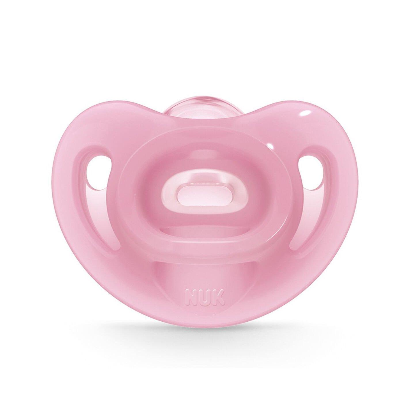 Nuk Sensitive Πιπίλα Όλο Σιλικόνη Εξαιρετικά Μαλακή & Εύκαμπτη 1 Τεμάχιο – 0-6 Μηνών Ροζ