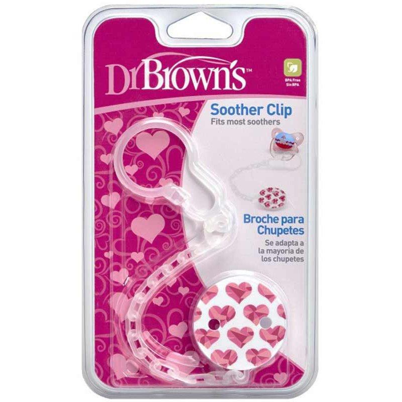 Dr Brown's Soother Clip Κλιπ Πιπίλας με Αλυσίδα AC037 1 Τεμάχιο – ροζ