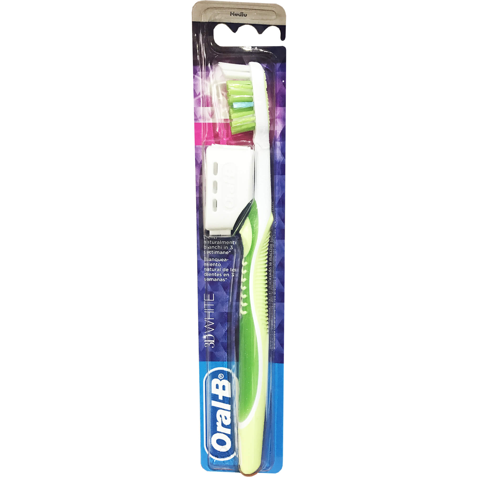 Oral-B 3D White Clean Οδοντόβουρτσα που Βοηθάει στην Απομάκρυνση των Επιφανειακών Λεκέδων Medium 1 τεμάχιο – πράσινο