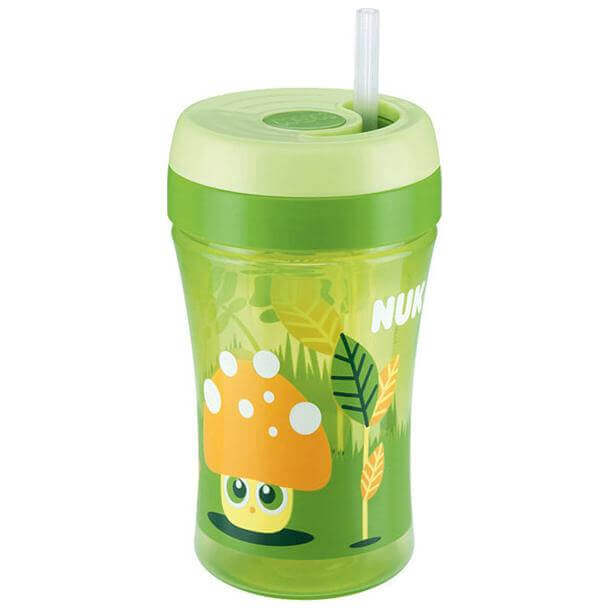 NukFun Cup Παγουράκι Πολυπροπυλενίουμε Μαλακό Καλαμάκι Σιλικόνης18+mBPA Free300ml – πράσινο