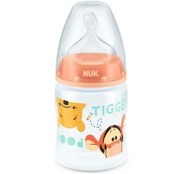 Nuk First Choice+Winnie the Pooh Πλαστικό Μπιμπερό Θηλή Σιλικόνης 0-6m 150ml – πορτοκαλί