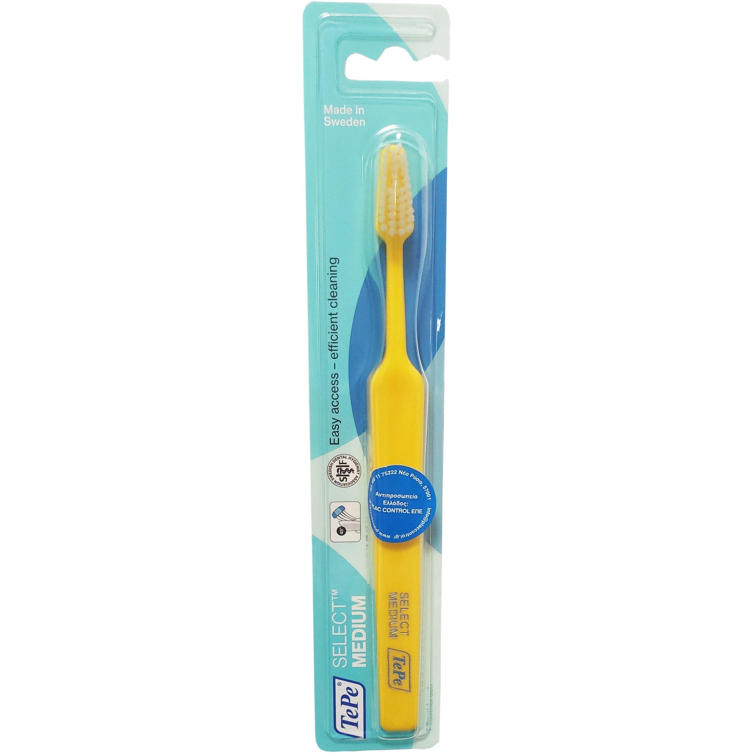 Tepe Select Medium Οδοντόβουρτσα Μέτρια για Εύκολη Πρόσβαση στα Πίσω Δόντια & Αποτελεσματικό Καθαρισμό 1 Τεμάχιο – κίτρινο