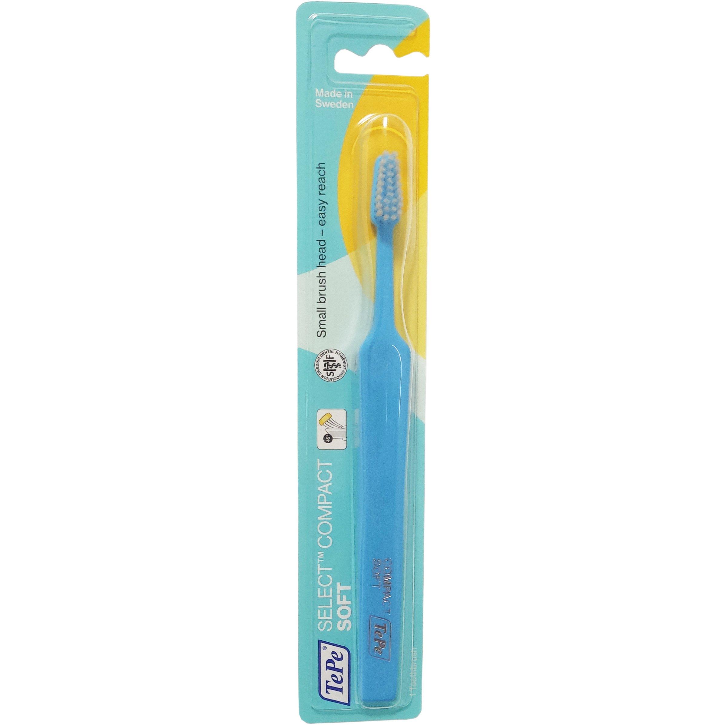 TePe Select Compact Soft Οδοντόβουρτσα Μαλακή για Αποτελεσματικό Καθαρισμό 1 Τεμάχιο – γαλάζιο